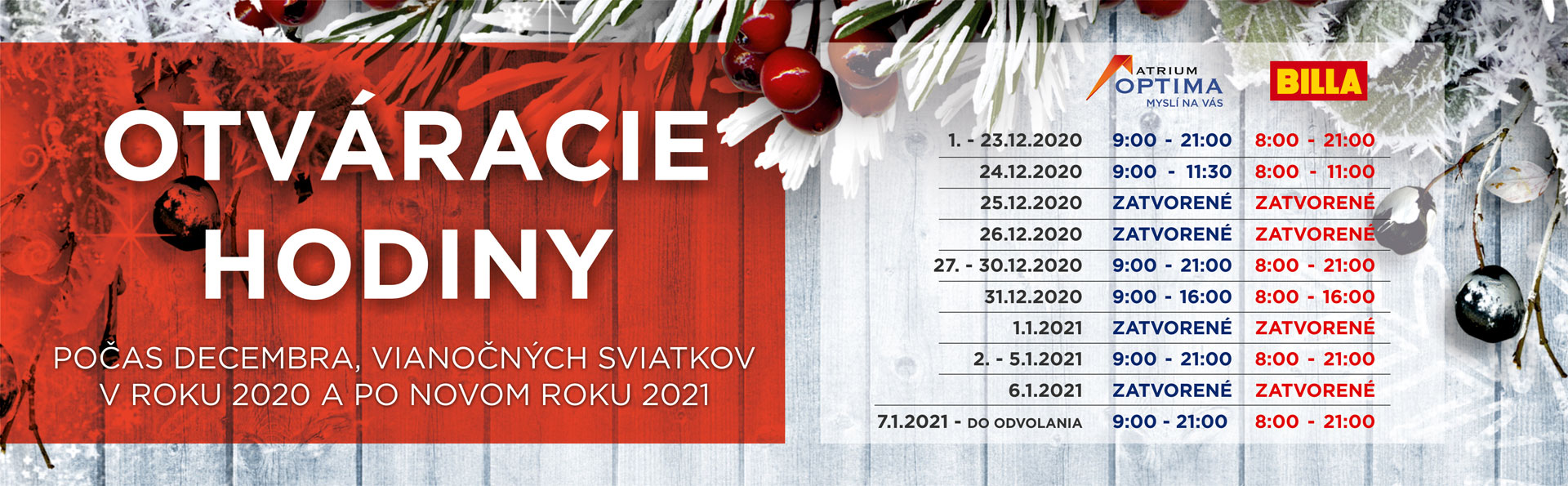 Otváracie hodiny počas decembra, vianočných sviatkov a Nového roku